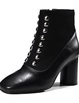 preiswerte -Damen Schuhe Beflockung PU Winter Herbst Komfort Stiefel Blockabsatz Quadratischer Zeh Niete Für Schwarz Braun