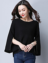 cheap -Women's Going out Street chic Blouse,Solid Round Neck 3/4 Length Sleeves Cotton Polyester