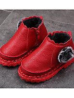 cheap -Girls' Shoes PU Winter Fall Comfort Snow Boots Boots Walking Shoes Booties/Ankle Boots Zipper Pom-pom for Casual Black Red