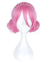 cheap -Women Synthetic Wig Capless Short Medium Length Pink With Bangs Cosplay Wig Costume Wig