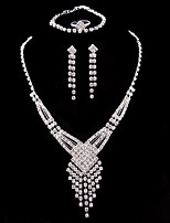 Жен. Набор украшений Свадебные комплекты ювелирных изделий Классика Мода Свадьба Для вечеринок Серебрянное покрытие 1 ожерелье 1 браслет