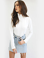 cheap -Women's Daily Holiday Street chic Winter Fall T-shirt,Print Turtleneck Long Sleeve Polyester