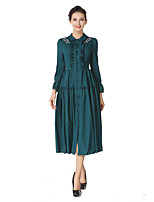 Women's Daily Going out Vintage Street chic A Line Dress,Embroidered Round Neck Midi Long Sleeve Cotton Polyester Winter Fall High Waist