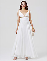 A-Line Princess V-neck Floor Length Chiffon Formal Evening Dress with Beading Sash / Ribbon Pleats by TS Couture®