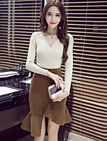 Women's Daily Going out Casual Fall Sweater Skirt Suits,Solid Round Neck Long Sleeves Others