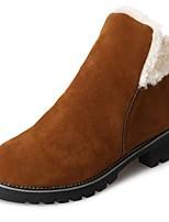 Недорогие -Для женщин Обувь Нубук Зима Зимние сапоги Ботинки Круглый носок Сапоги до середины икры Назначение Повседневные Черный Коричневый Зеленый
