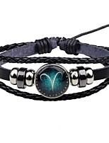 Homme Femme Bracelet Classique Décontracté Cuir Alliage Forme de Cercle Bijoux Pour Plein Air Sortie