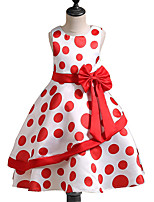 Girl's Holiday Going out Polka Dot Dress,Polyester Summer Fall Sleeveless Cute Princess Red Blue