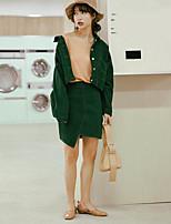 Set Jupe Costumes Femme,Couleur Pleine Décontracté / Quotidien Mignon Chic de Rue Automne Manches longues Col de Chemise Coton