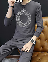 cheap -Men's Cotton Street chic Set Solid Round Neck Micro-elastic Cotton Polyester Long Sleeves Fall