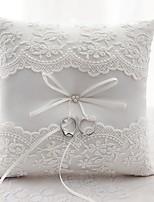 satin dentelle anneau de soie oreillers cérémonie de mariage
