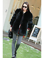 Women's Daily Going out Street chic Sophisticated Winter Fur Coat,Solid Round Neck 3/4 Length Sleeves Regular Faux Fur PU Lamb Fur