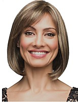 Women Synthetic Wig Capless Medium Length Straight Light Brown Highlighted/Balayage Hair Bob Haircut Celebrity Wig Natural Wigs Costume
