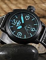 WINNER Men's Dress Watch Wrist watch Mechanical Watch Automatic self-winding Calendar / date / day Leather Band Casual Colorful Black
