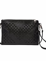 Women Bags All Season PU Clutch Zipper for Outdoor Black