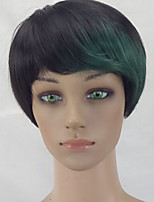 Women Synthetic Wig Capless Short Straight Black/Dark Green Pixie Cut Party Wig Celebrity Wig Natural Wigs Costume Wig