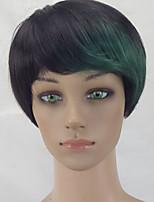 hairjoy жен. Парики из искусственных волос Без шапочки-основы Короткий Прямой силуэт Черный / Темно-зеленый Стрижка под мальчика Парик из