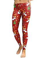 abordables -Mujer Boho Chic de Calle Tiro Medio Microelástico Delgado Pantalones,Estampado