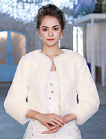3/4 Length Sleeves Faux Fur Wedding Party / Evening Women's Wrap With Smooth Shrugs