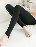 cheap -Women's Pure Color Nylon Medium Solid Color Legging,Solid Black