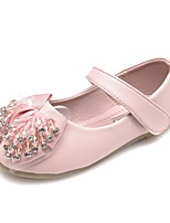 cheap -Girls' Shoes Leatherette Spring Fall Comfort Light Soles Flats Rhinestone Crystal Bowknot Sparkling Glitter Hook & Loop for Dress Party &