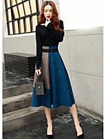 Women's Going out Casual Fall T-shirt Skirt Suits,Color Block Round Neck Long Sleeves Polyester