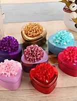 Heart-shaped Metalic Silk Favor Holder With Ribbons Floral Print Favor Boxes-12 pcs