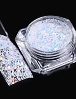 Hexagon Snowflake Nail Sequins 1.5g Colorful Stripe White Glitter Paillette Flakies Manicure Nail Art Decoration
