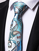 cheap -Men's Polyester Necktie,Work Casual Floral All Seasons Light Blue