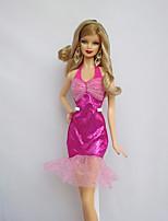 Fiesta/Noche Vestidos por Muñeca Barbie  Fucsia por Chica de muñeca de juguete