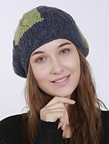 cheap -Women's Acrylic Roman Knit Floppy Hat,Vintage Cute Casual Floral Winter Braided Khaki Dark Gray Brown Blue