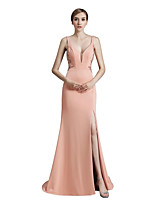 Mermaid / Trumpet V-neck Court Train Jersey Prom Formal Evening Dress with Beading Sequins by Sarahbridal