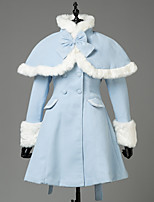 cheap -Winter Sweet Lolita Cape Coat Princess Wool Women's Girls' Adults' Coat Cosplay Blue Long Sleeves