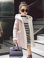 Недорогие -Девочки Куртка / пальто Полиэстер Однотонный Контрастных цветов Длинные рукава Простой Красный Розовый