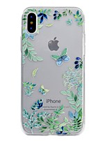 abordables -Coque Pour Apple iPhone X / iPhone 8 Transparente / Relief / Motif Coque Papillon Flexible TPU pour iPhone X / iPhone 8 Plus / iPhone 8