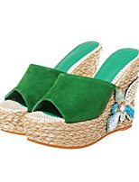 Women's Shoes Real Leather Summer Comfort Slippers & Flip-Flops Round Toe For Casual Green Black