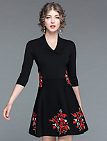Women's Going out Casual/Daily Street chic Skater DressEmbroidered V Neck Above Knee Half Sleeve Rayon Nylon Fall Winter Medium Waist