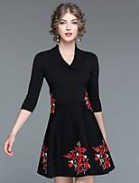Для женщин На каждый день На выход Уличный стиль Скейтер Платье Вышивка,V-образный вырез Выше колена Половина рукава Искусственный шёлк