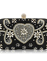 Women Bags Polyester Evening Bag Beading Pearl Detailing for Event/Party All Season Black Silver Blushing Pink Almond