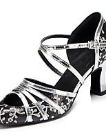 Women's Latin Leatherette Sandal Sneaker Professional Chunky Heel Black Gold