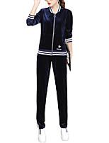 Mujer Simple Casual/Diario Invierno Conjunto Pantalón Trajes,Escote Redondo Un Color Manga Larga Algodón