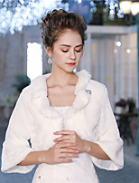 3/4 Length Sleeves Faux Fur Wedding Party / Evening Women's Wrap With Feather/ Fur Crystal Brooch Shrugs
