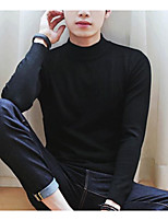 Men's Casual/Daily Simple Short Pullover,Solid Crew Neck Long Sleeve Cotton Winter Fall/Autumn Thick Micro-elastic