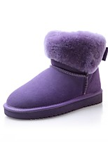 cheap -Women's Shoes Nubuck leather Fall Winter Comfort Boots Flat Heel Round Toe Bowknot For Outdoor Office & Career Purple Black