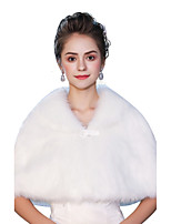 Sleeveless Faux Fur Wedding Party/ Evening Women's Wrap With Buckle Capelets