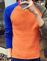 Для мужчин На каждый день Простой Обычный Пуловер Контрастных цветов,Круглый вырез Длинный рукав Шерсть Полиэстер Осень Средняя
