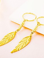 Women's Drop Earrings Hoop Earrings Metallic Formal Asian Classic Gift Gold Plated Leaf Geometric Jewelry For Wedding Party Engagement