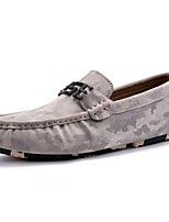 Men's Shoes Cowhide Spring Fall Moccasin Comfort Loafers & Slip-Ons For Casual Khaki Gray Black