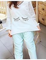 Costumes Pyjamas Femme,Peinture Coton Polyester Rose Claire Vert Claire