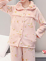 Costumes Pyjamas Femme,Solide Coton Polyester Vert Rose Claire